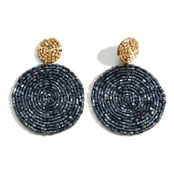 """Circular Seed Bead Drop Earrings  - Approximately 2.75"""" Long"""