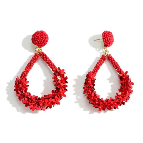 "Teardrop Seed Bead Drop Earrings Featuring Flower Accents  - Approximately 3"" Long"