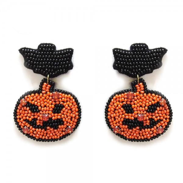 "Jack O Lantern Halloween Seed Beaded Statement Earrings  - Approximately 2.25"" Length"