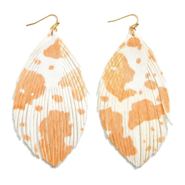 """Textured Cow Print Drop Earrings Featuring Feathered Accents.   - Approximately 4.25"""" in Length"""