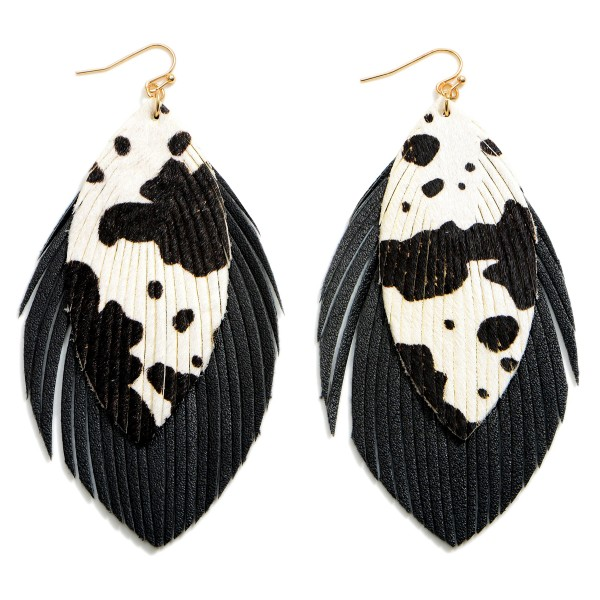 """Faux Leather Textured Cow Print Drop Earrings Featuring Feathered Accents.   - Approximately 4.5"""" in Length"""