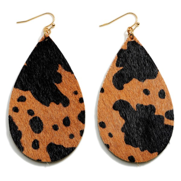 """Textured Cow Print Teardrop Earrings.   - Approximately 3.5"""" in Length"""