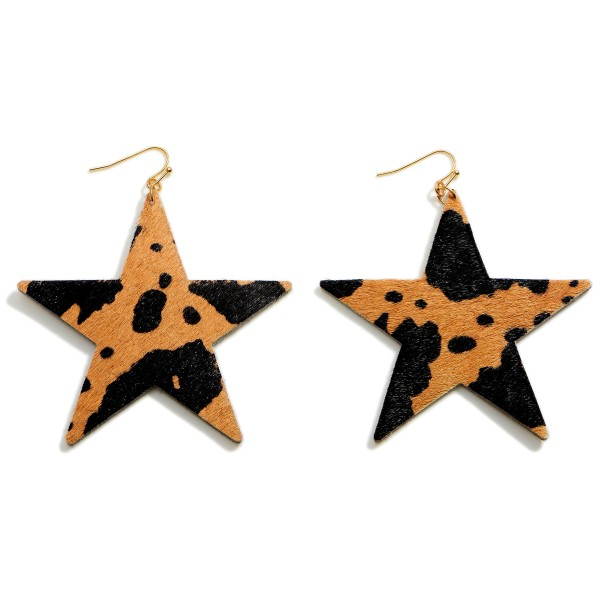 """Textured Cow Print Star Drop Earrings.   - Approximately 3"""" in Length"""