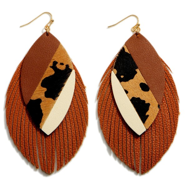 """Textured Faux Leather Cow Print Drop Earrings Featuring Feathered Accents.   - Approximately 4.25"""" in Length"""