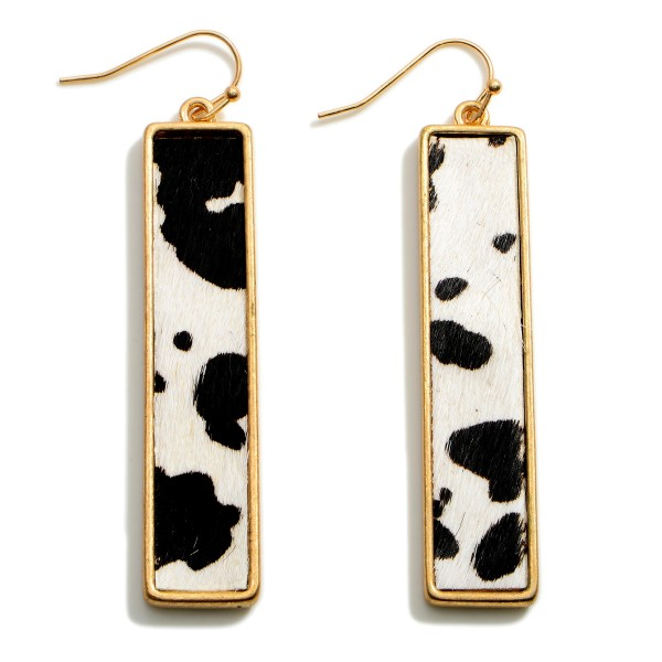 """Textured Cow Print Rectangular Drop Earrings Featuring Gold Accents.   - Approximately 2.75"""" in Length"""