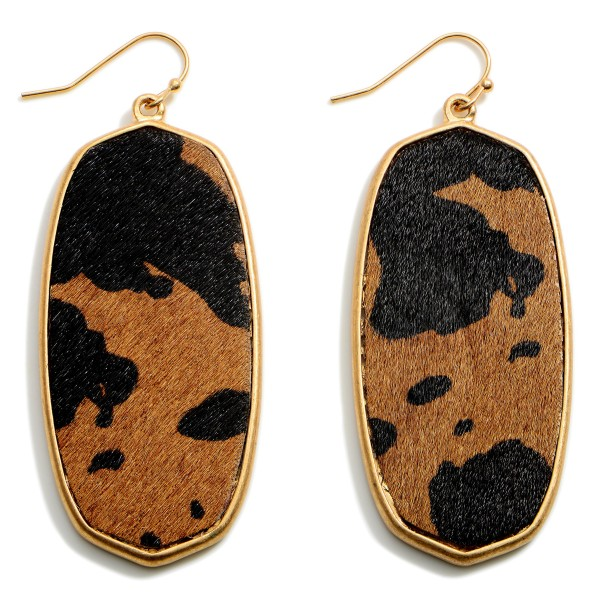 """Textured Cow Print Drop Earrings Featuring Gold Accents.   - Approximately 2.75"""" in Length"""