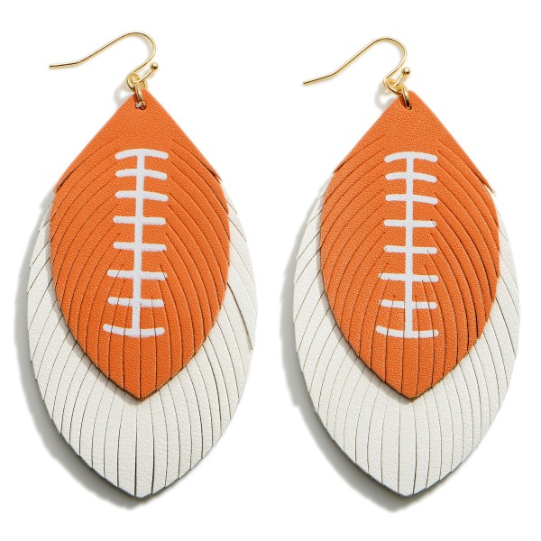 """Long Faux Leather Football Earrings Featuring Feathered Accents.  - Approximately 3.75"""" in Length"""
