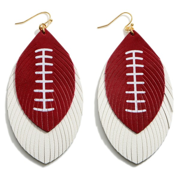 """Long Leather Football Earrings Featuring Feathered Accents.   - Approximately 3.5"""" in Length"""