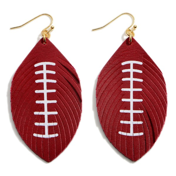 """Faux Leather Football Drop Earrings Featuring Feathered Accents.   - Approximately 3"""" in Length"""