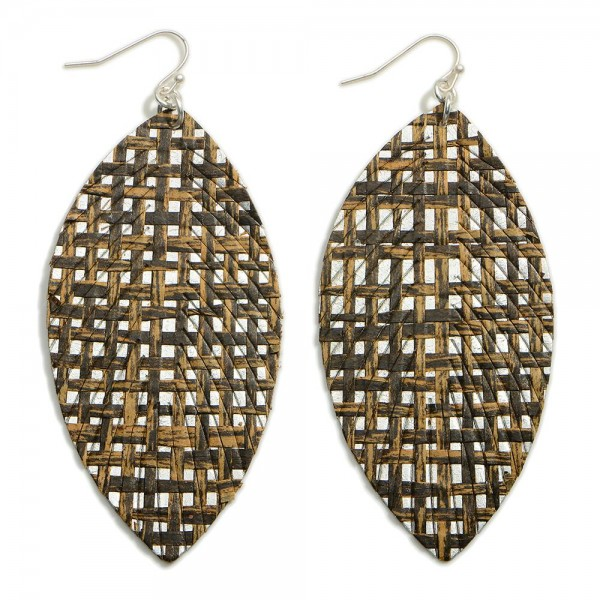 """Basket Weave Leather Feathered Earrings  - Approximately 3.5"""" in Length"""