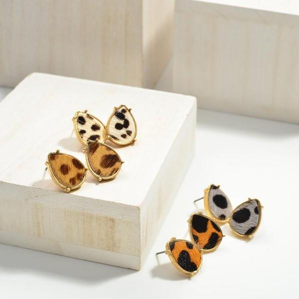 Teardrop Animal Print Metal Encased Leather Earrings  - Approximately 10mm