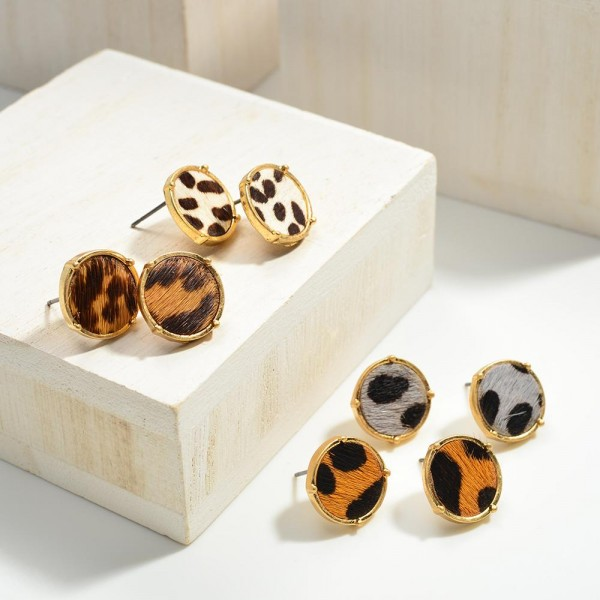 Round Animal Print Metal Encased Leather Earrings  - Approximately 10mm