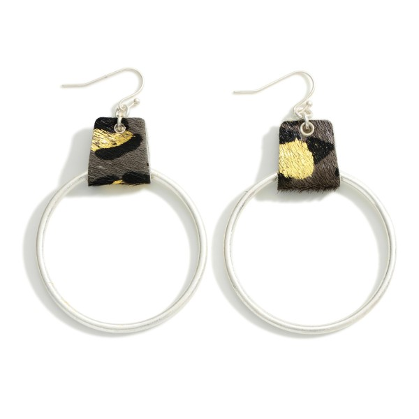 """Metal Hoop Drop Earrings Featuring Leather Leopard Print Accent  - Approximately 2.5"""" Long"""
