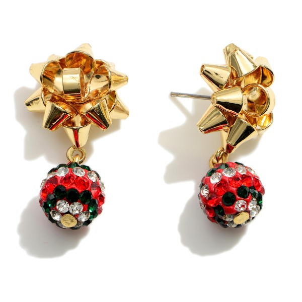 """Gold Christmas Bow Drop Earrings Featuring CZ Accents.   - Approximately 1"""" in Length"""