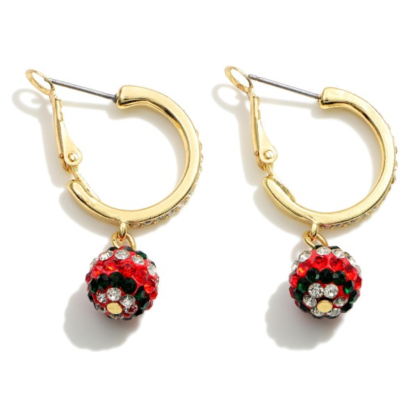 """Christmas Hoop Earrings Featuring CZ Accents.   - Approximately 1.5"""" in Length"""