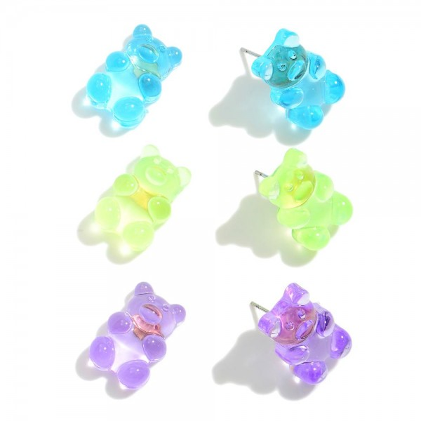 """Set of Three Candy Bear Stud Earrings.   - Approximately .75"""" in Length"""