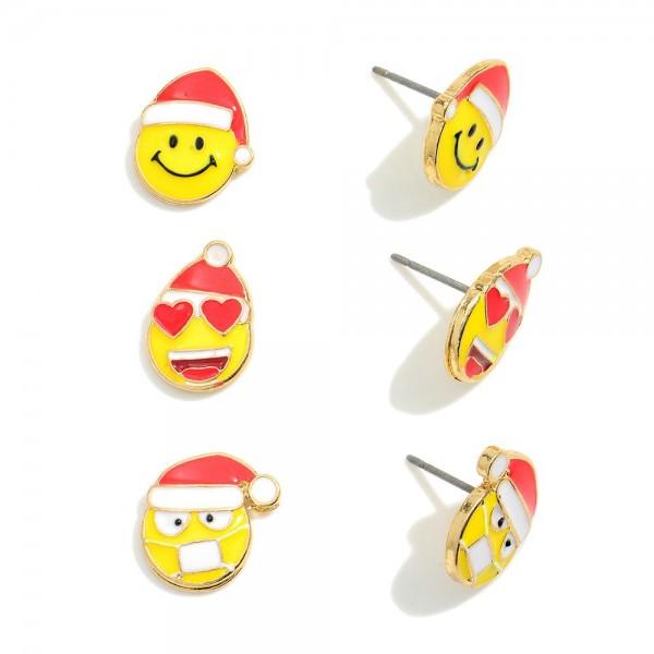 """Set of Three Christmas Emoji Stud Earrings.   - Approximately .5"""" in Diameter"""