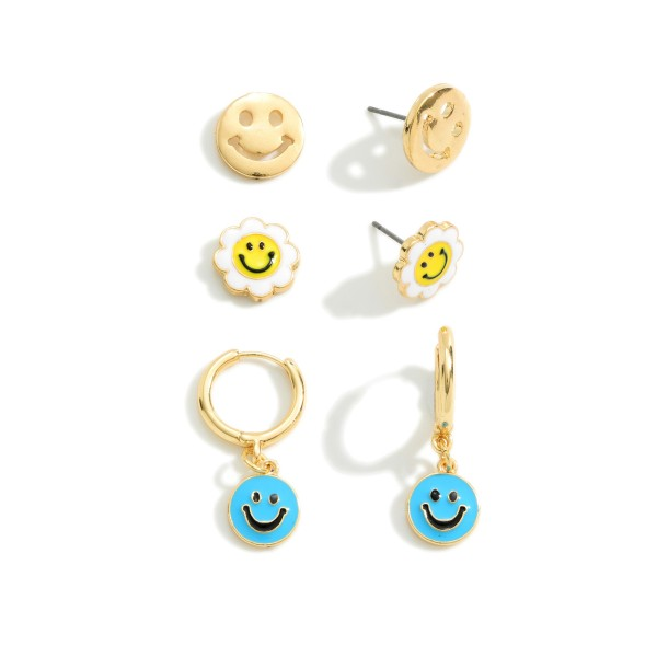 """Set of Three Smiley Face Earrings  - Studs Approximately 0.5"""" Wide - Huggie Hoops Approximately 1"""" Long"""