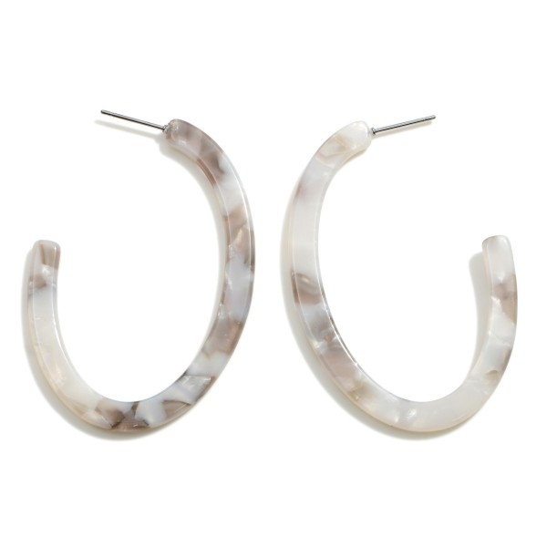"Resin Oval Shaped Hoop Earrings.   - Approximately 2.5"" in Length"