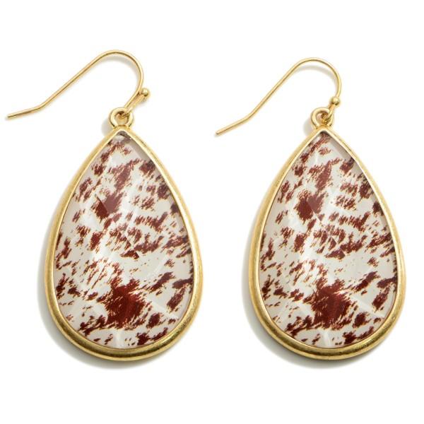 "Gold Animal Print Teardrop Earrings.   - Approximately 2"" in Length"