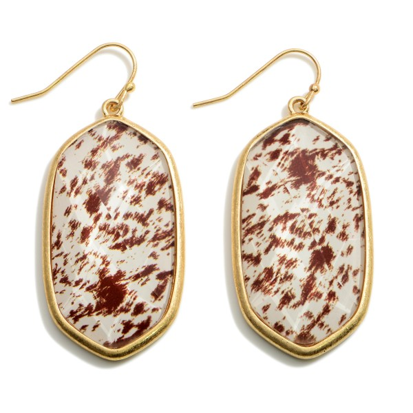 """Gold Animal Print Drop Earrings.   - Approximately 2"""" in Length"""
