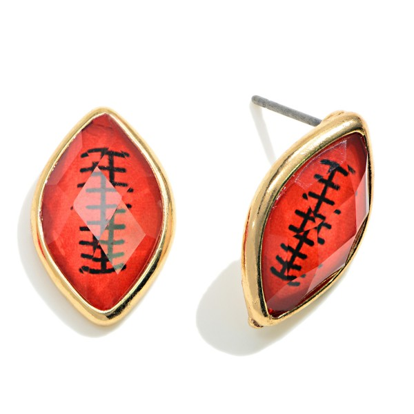 Crystal Football Stud Earrings  -Approximately 18mm