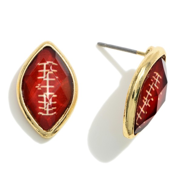 """Gold Football Stud Earrings.   - Approximately .75"""" Wide"""