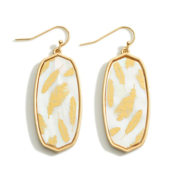 """Oblong Iridescent Feather Print Drop Earrings  - Approximately 2"""" Long"""