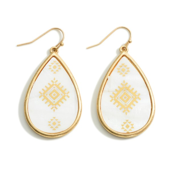"Iridescent Aztec Print Teardrop Earrings  - Approximately 2"" Long"
