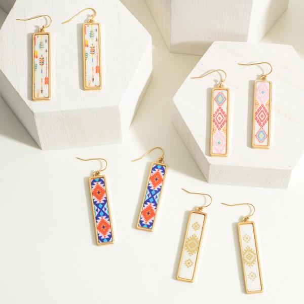 "Iridescent Aztec Print Drop Earrings  - Approximately 2"" Long"