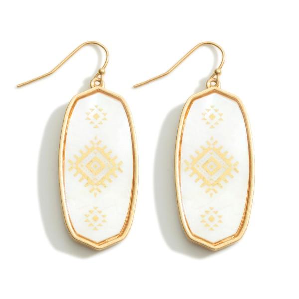 "Oblong Iridescent Aztec Print Drop Earrings  - Approximately 2"" Long"