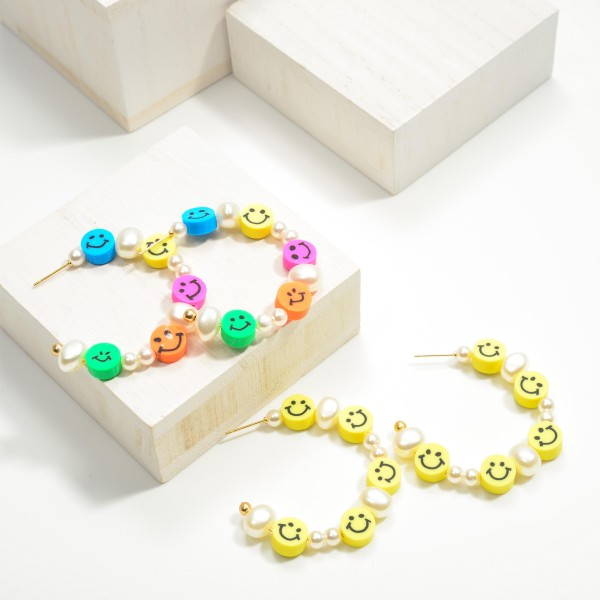 """Beaded Multi Colored Smiley Face and Pearl Hoop Earrings  -Approximately 2"""" Length"""
