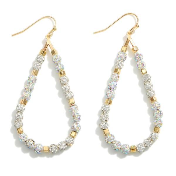 """CZ Beaded Teardrop Earrings.   - Approximately 2.75"""" in Length"""