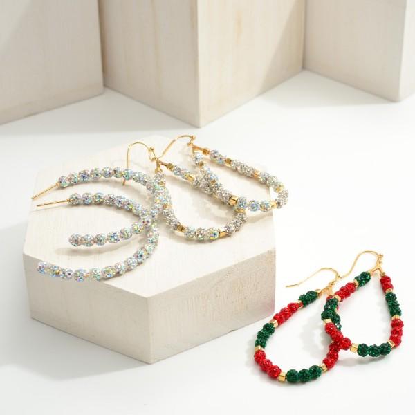 "Christmas CZ Beaded Teardrop Earrings.   - Approximately 2.75"" in Length"