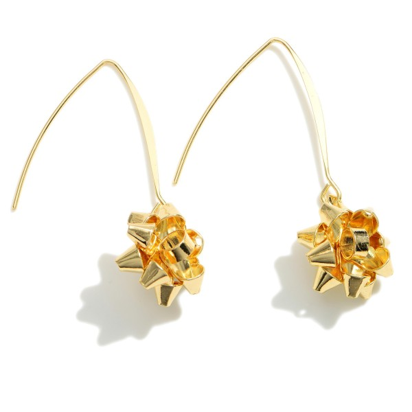 """Gold Christmas Bow Threader Earrings.   - Approximately 1.75"""" in Length"""
