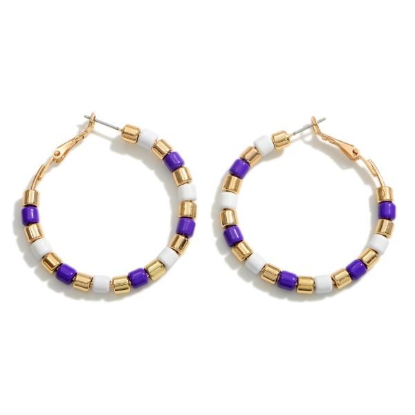 """Gold Beaded Hoop Earrings.   - Approximately 1.75"""" in Diameter"""