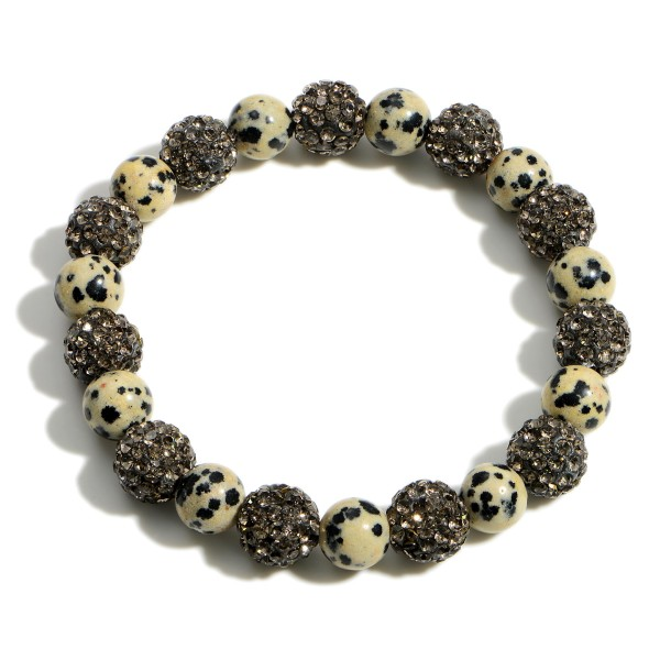 """Beaded Bracelet Featuring CZ Accents.   - Approximately 2.5"""" in Diameter"""