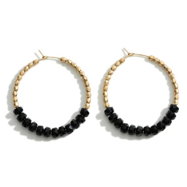 "Beaded Gold Hoop Earrings.   - Approximately 2.5"" in Length"