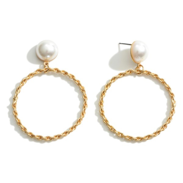 """Metal Hoop Earrings With Pearl Accents.   - Approximately 2"""" Long"""