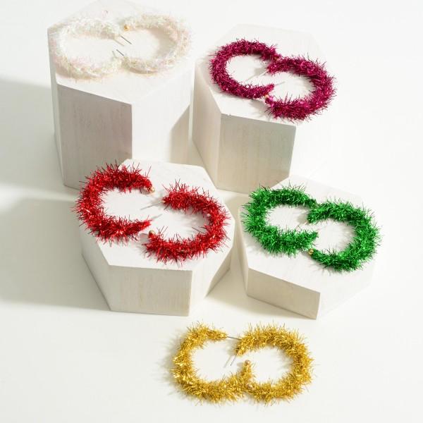 """Christmas Garland Hoop Earrings.   - Approximately 2"""" Long"""