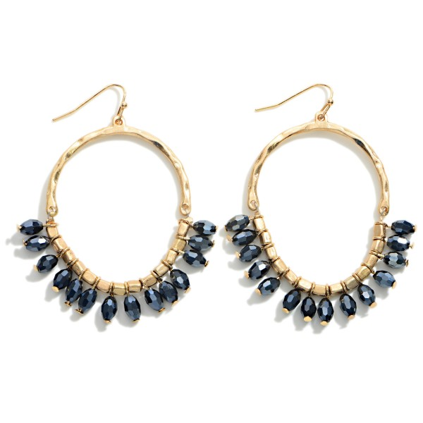 """Hammered Gold Tone Beaded Drop Earrings  - Approximately 2.5"""" Long"""
