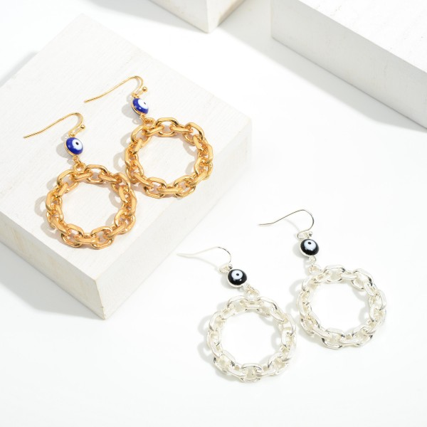 """Gold Tone Chain Link Hoop Drop Earrings Featuring Evil Eye Accent  - Approximately 2.25"""" Long"""