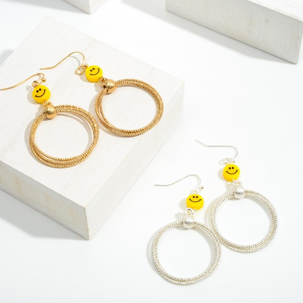 """Gold Tone Cuffed Hoops Drop Earrings Featuring Smiley Face Accent  - Approximately 2"""" Long"""