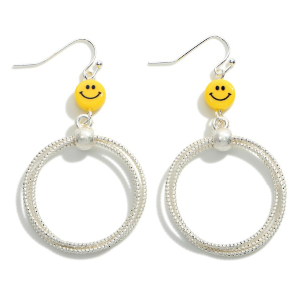 """Silver Tone Cuffed Hoops Drop Earrings Featuring Smiley Face Accent  - Approximately 2"""" Long"""