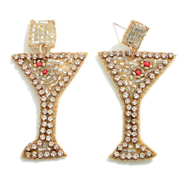 """Seed Beaded Martini Glass Earrings  - Approximately 2"""" Length"""