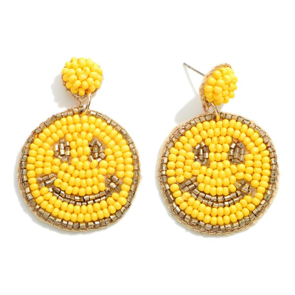 """Seed Bead Smiley Face Drop Earrings  - Approximately 1.75"""" Long"""
