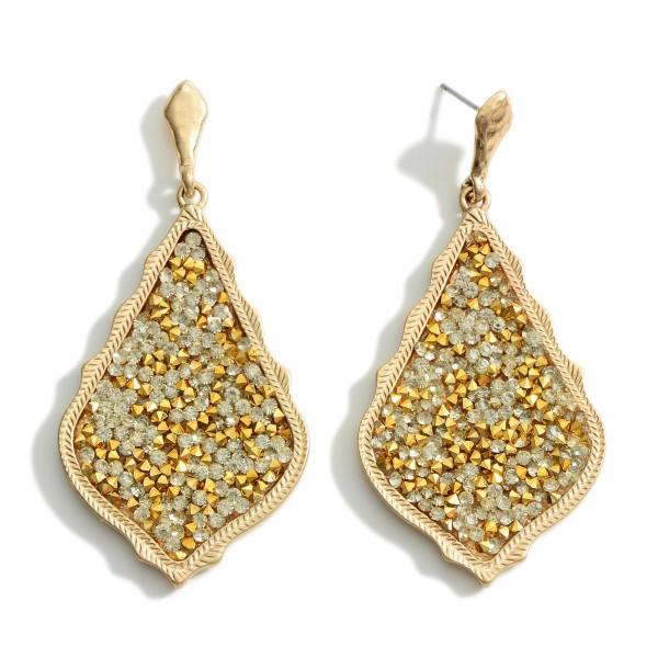 """Metal Encased Glitter Drop Earrings in Gold.  - Approximately 2"""" Long"""