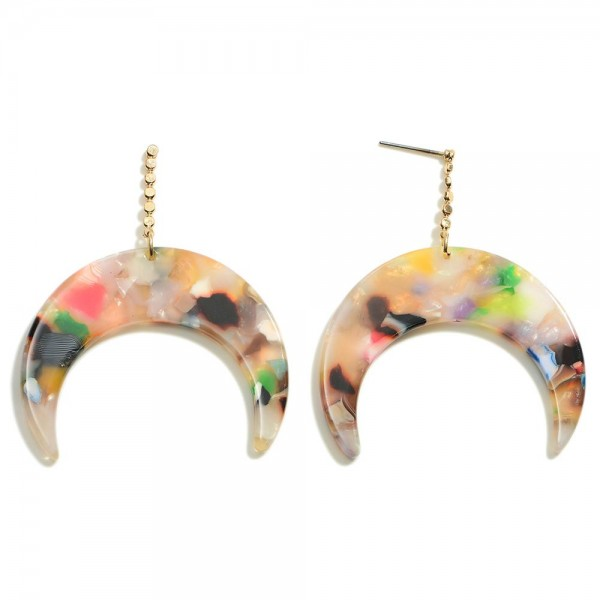 """Crescent Moon Resin Post Drop Earrings  - Approximately 2"""" Length"""