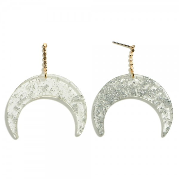 """Crescent Moon Resin Post Drop Earrings With Metallic Accents  - Approximately 2"""" Length"""