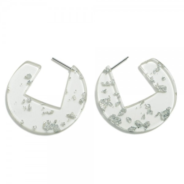 """Resin Geometric Hoop Earring With Metallic Accents  - Approximately 1.5"""" Diameter"""